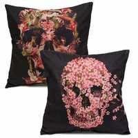 Black Flower Skull Cotton Velvet Throw Pillow Case Cushion Cover Home Sofa Decor