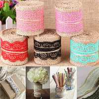 1m Natural Jute Burlap Lace Trim Ribbon DIY Sewing Craft Wedding Christmas Gift Decoration