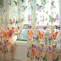 Butterfly Printed Sheer Window Curtains Tulle Door Window Screen