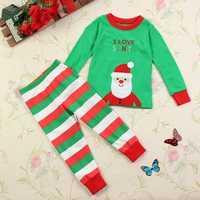 Christmas Toddler Girl Boy Santa Xmas Sleepwear Clothing Sets