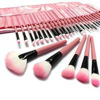 LuckyFine 32pcs Makeup Brushes Set Professional Cosmetic Brush Set Pink Eyeshadow Eyebrow Blush