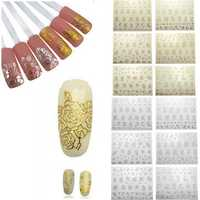Silver Gold Hollow Out Flower 3D Nail Art Stickers
