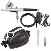 OPHIR Mini Air Compressor Dual Action Airbrush Spray Kit Tattoo Machine