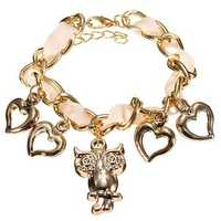 Gold Plated Owl Peach Heart Charm Ribbon Chain Bracelet For Women