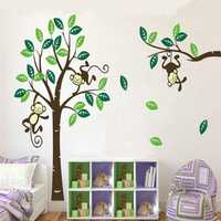 Monkey On Tree Art Removable Wall Stickers Baby Room Home Decal Decor