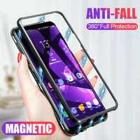 Bakeey 360° Magnetic Adsorption Metal Tempered Glass Flip Protective Case for OnePlus 7 PRO