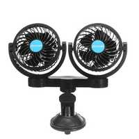 12V Double Heads Fan Portable Sucker Fan Clip-on Fan Camping Travel Car Cooling Fan