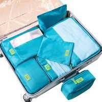 7Pcs Clothes Underwear Socks Packing Cube Storage Bag Travel Luggage Organizer