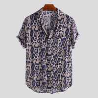 Men Leopard Print Short Sleeve Relaxed Shirts