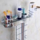 Promotion KCASA BR-32 Bathroom 4 in 1 Wall Mount Towel Rack Hanging Storage Shelves with Hair Dryer Holder and Toothbrush Shelves