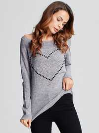 Casual Women Heart Pattern Back Bowknot Long Sleeve Pullover Sweaters