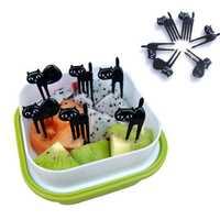 6Pcs Mini Animal Fork Fruit Picks Cute Cartoon Black Cat Children Fork Toothpick Bento Lunch Box Decor Accessories