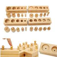 Knobbed Cylinder Blocks Family Set Wooden Montessori Educational Toy