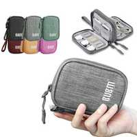 BUBM QYR Single Double Layer Electronics Accessories U Disk Cable Organizer Data Cable Storage Bag