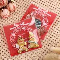 100PC Self Adhesive Christmas Cookie Bags Cellophane Candy Gift Pouch