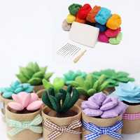 Wool Poke Green Potted Plants DIY Decoration Raw Material Kit For Home