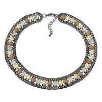 JASSY® Elegant White Opal Crystal Khaki Semi Precious Stone Retro Necklace Gift for Women