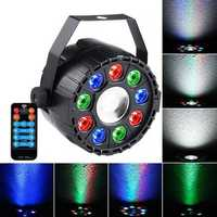 15W RGBW 10 LED Sound-activated Remote Control DMX Stage Strobe Light for Christmas Disco AC90-240V