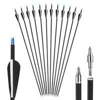 12 pcs/set 31'' Fiber Glass Carbon Archery Accessories Hunting Compound Recurve Training Bow AU