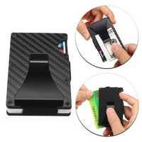 Men RFID Blocking Slim Carbon Fiber Wallet ID Credit Card Holder RFID Money Clip Case