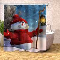 Christmas Decoration Christmas Snowman Shower Curtain Washable Eco-friendly Waterproof Curtain With Plastic Hook