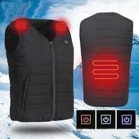 Men USB Electric Heating Vest Jacket Outdoor Sports Waterproof Winter Warm Clothes Heated Padded Coat