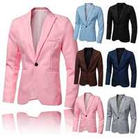 Fashion Mens Slim Casual Suit Pointed Collar Bright Color Blazer