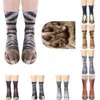 Creative 3D Print Adult Animal Paw Socks Unisex Crew Cat Long Tube Stocks Elastic Breathable Sock Dog Tiger Zebra Pig Cat Paw
