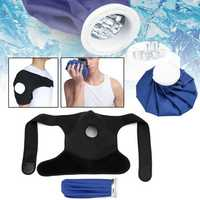 Ice Gel Pack Hot Cold Therapy Wrap Shoulder Injuries Sprains Muscle Joint Pain Blue Black Cloth Fiber Shoulder Support