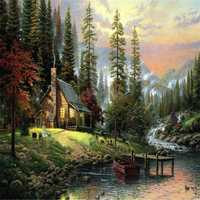 40X50CM Frameless The Cabin In The Woods Linen Canvas Oil Painting DIY Paint By Numbers