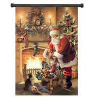 30x45cm Christmas Polyester Santa Claus Welcome Flag Garden Holiday Decoration