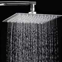 12 Inch 2mm Thin Pressurized Rotatable Rainfall Shower Head Square Stainless Steel Top Spray Head