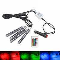 Remote Control Car RGB LED Interior Decorative Floor Lights Atmosphere Strip Lamp 4PCS