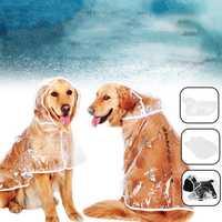 PU Pet Clothes Waterproof Light Dog Raincoat Transparent PVC Rain Coat With Hood