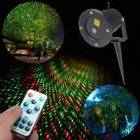 LED R&G Remote Garden Waterproof Snow Laser Projector Landscape Stage Lighting