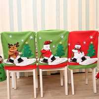 New Year Christmas Chair Back Cover Santa Claus Snowman Elk Hat Christmas Decorations for Home Dinner Table