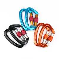 25KN Max Load Outdoor D Shape Carabiner Aviation Aluminum Safety Buckle Camping Climbing Security Swing Buckle