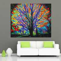 Art Wall Hanging Comfy Tapestry Colorful Tree Style Psychedelic Bedroom Decorations