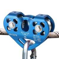 30KN Outdoor Rock Climbing Dual Pulley Zip Line Rescue Cable Trolley