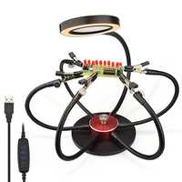 USB LED Lights PCB Fixture Soldering Iron Holder 3X Magnifying Glass Soldering Station Third Hand Welding Tool with 6Pcs Flexible Arms