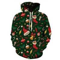 Unisex 3D Hoodies Sweatshirt Digital Christmas Gift Print Pullover Casual Hooded Tracksuit