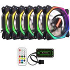 Bon prix Coolmoon 6PCS 12cm Multilayer Backlit RGB Cooling Fan with IR Controller for Desktop PC
