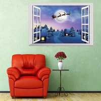 Christmas Decorations 3D Windows Wall Stickers Living Room TV Wall Stickers