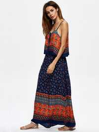 Women Sexy V-Neck Printed Dresses Spaghetti Strap Beach Summer Maxi Dress