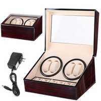 Automatic 4+6 Quad Watch Winder Rotation Display Watch Box