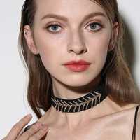 Trendy Velvet Multicolor Fish Bone V Rhinestones Women Choker Necklace