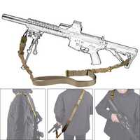 Military Nylon Adjustable Tactical Double Point Strap Gun Sling Rope Lanyard For CS Gun Accessories