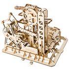 Meilleurs prix 3D Self-Assembly Handcrank Wooden Marble Run Tower Magic Crush Puzzle Building Kits Mechanical Model Gift