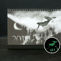 2018 Creative luminous calendar Large Desktop Paper Calendar Dual Daily Scheduler Table Planner