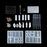 77Pcs Resin Casting Mold Kit Silicone Mold Making Jewelry Pendant Craft DIY Set